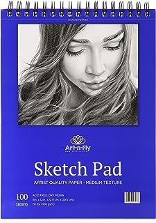 Bloc de dessin 100 feuilles à reliure spirale A4 22,9 x 30,5 cm - Papier blanc à grain moyen pour le dessin, croquis, esqu...