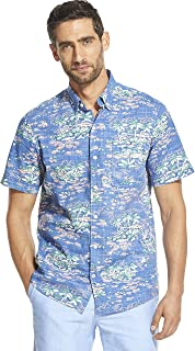Men's Saltwater Dockside Chambray Short Sleeve Button Down Patterned Shirt