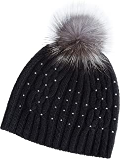 Knitted Cashmere Beanie Hat with Detachable Fox Fur Pom Black/Indigo