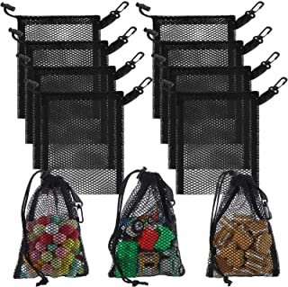 8 Pieces Black Mesh Drawstring Bags with Clips Nylon Storage Mesh Bags for Collecting Toys Travel (28 x 20 cm/ 11 x 7.9 Inch)