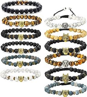 12Pcs Lava Rock Stone Beaded Bracelet for Men Women Dragon/Lion/Panther Elastic Bracelet Set Adjustable,8MM Stone