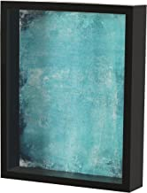 Shadow Box Display Case – Top Loading Black Wood Frame - Showcase Bottle Caps, Shells, Ticket Stubs, Airline Tickets, and More (Turquoise)