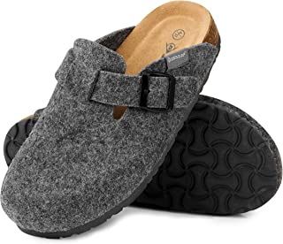 Dunlop Womens Slippers, Open Back Felt Ladies Slippers, Indoor Outdoor Anti Slip House Slippers Size 4-8