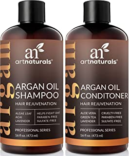 ArtNaturals Argan Hair Growth Shampoo & Conditioner Set- (2 x 16 Fl Oz / 473ml) - Sulfate Free - Treatment for Hair Loss, Thinning & Regrowth - Men & Women - Infused with Biotin, Argan Oil, Keratin, C