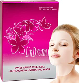 Upgraded - 3D Anti Aging Sheet Mask by Lindream Skin - Face Plus Chin and Neck - Organic Natural Facial Masks - Tightening Hydrating Whitening Moisturizer - Spa Treatment for Women and Men - 5 Sheets