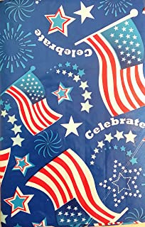 Americana Flags, Fireworks, and Stars on Navy Blue Vinyl Flannel Back Tablecloth (52