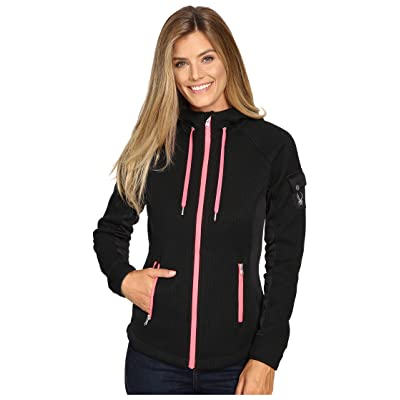Spyder Ardent Full Zip Hoodie Mid Weight Core Sweater (Black/Weld/Bryte Pink) Women