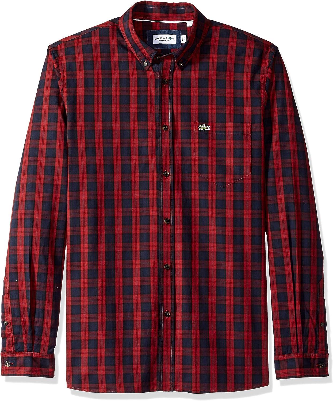 Lacoste Men's Long Sleeve Regular Fit Plaid Button Down