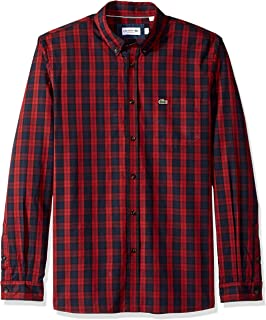 Lacoste Men's Long Sleeve Regular Fit Plaid Button Down