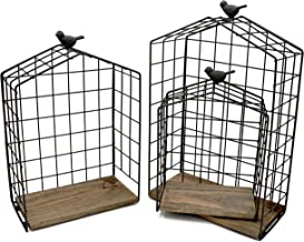 KeKaBox Set of 3 Decorative House Shaped Floating Shelves, Metal Wire Hanging Display Rack with Natural Wood Accent