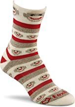 FoxRiver Women's Red Heel Merino Monkey Stripe Crew Socks
