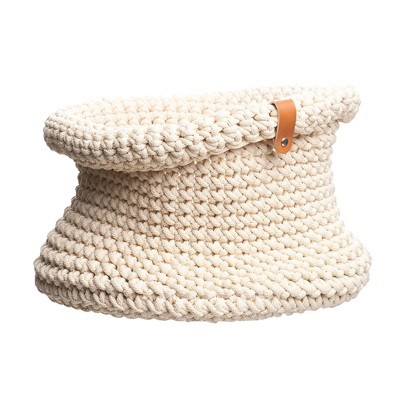 White Knitted basket H 10