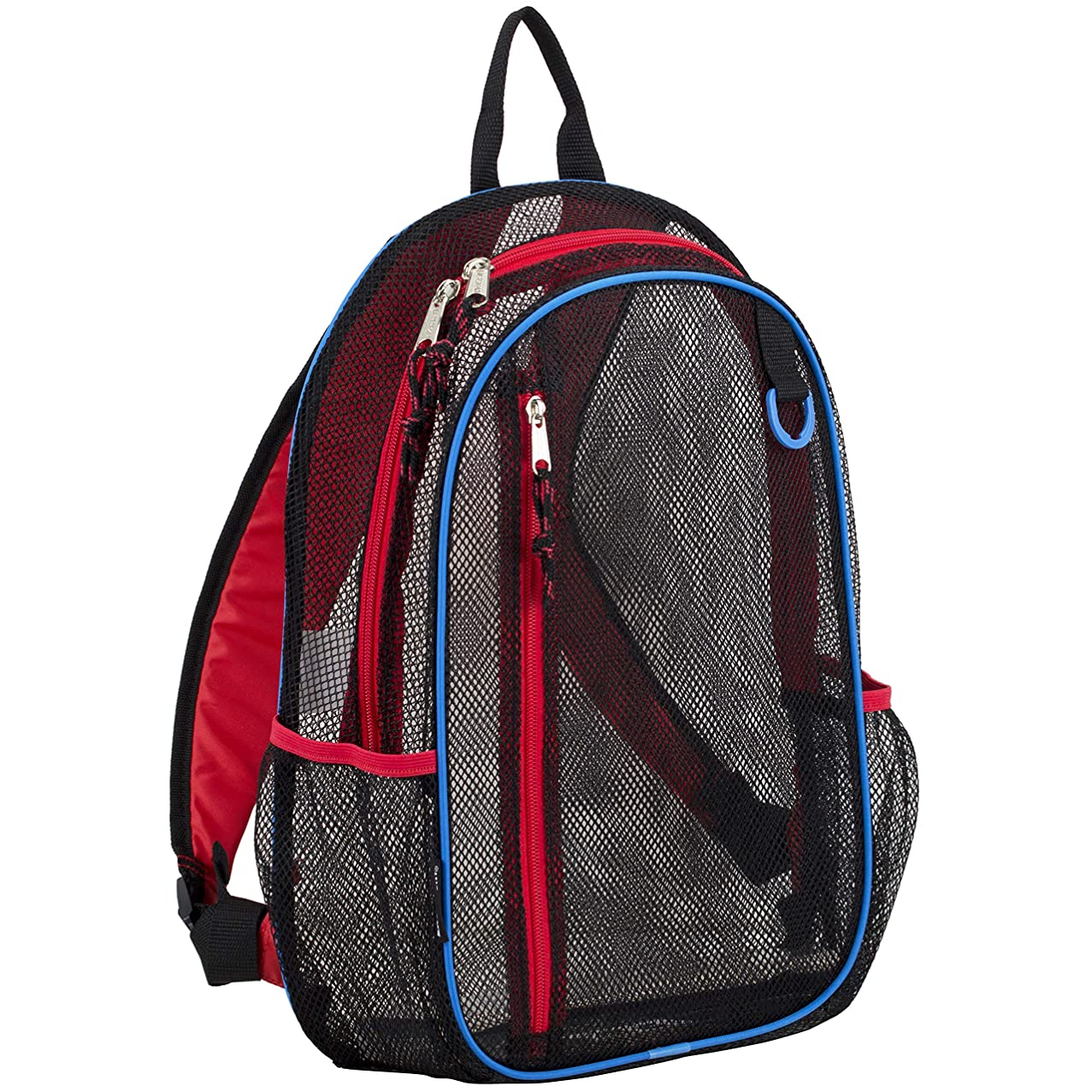 Eastsport Active Mesh Backpack with Padded Adjustable Straps, Black/Poppy Red/Royal Blue Trim