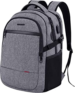 KROSER Laptop Backpack 15.6 Inch Ultra Light Computer Backpack Stylish Water-repellent College Backpack with USB charging Port & Headphone Interface for Work/Travel/School/Busines-Grey