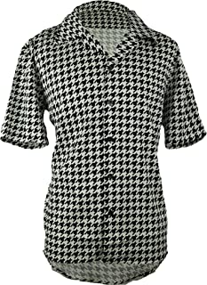 Men's Houndstooth Shirt | Short Sleeve Button Down Shirt for Men | Black and White Dress Shirt for Your Loved Ones.