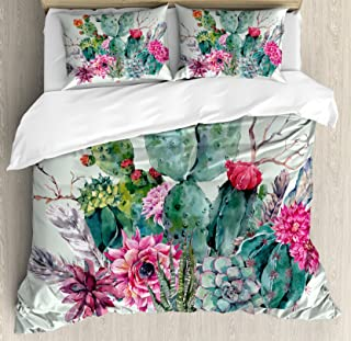 Ambesonne Cactus Duvet Cover Set, Spring Garden with Boho Style Bouquet of Thorny Plants Blossoms Arrows Feathers, Decorative 3 Piece Bedding Set with 2 Pillow Shams, King Size, White Pearl