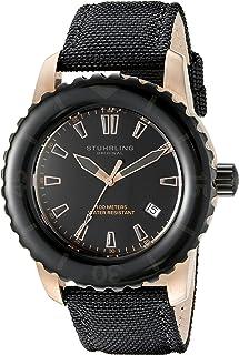 Stuhrling Original Men's 3266.02 Aquadiver Vector Analog Display Swiss Quartz Black Watch