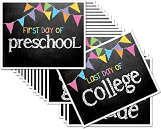 Chalkboard Photo Prop Signs for First Day & Last Day of School, 8' x 10', Pastel Flags for Girls, 16-Grade: Preschool, Pre-K, Kindergarten, 1st-12th Grades to College