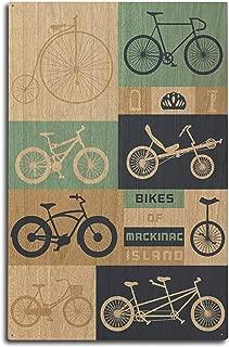 Lantern Press Mackinac Island, Michigan - Bikes of Mackinac Island - Vector Diagram 97805 (10x15 Wood Wall Sign, Wall Decor Ready to Hang)