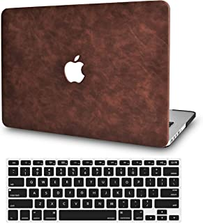 LuvCase 2 in 1 Bundle Leather Hard Shell Case with Keyboard Cover Compatible Newest MacBook Pro 13 inch A2159/A1989/A1706/A1708 with/Without Touch Bar, 2019/18/17/16 Release (Brown Cow Leather)