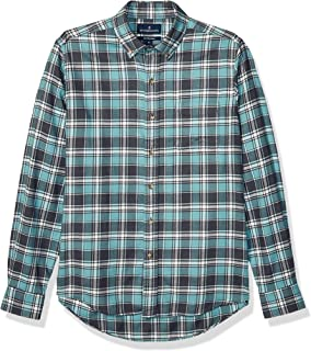 Buttoned Down Amazon Brand Men's Slim Fit Supima Cotton Plaid Flannel Sport Shirt, Teal/Charcoal, XX-Large Tall