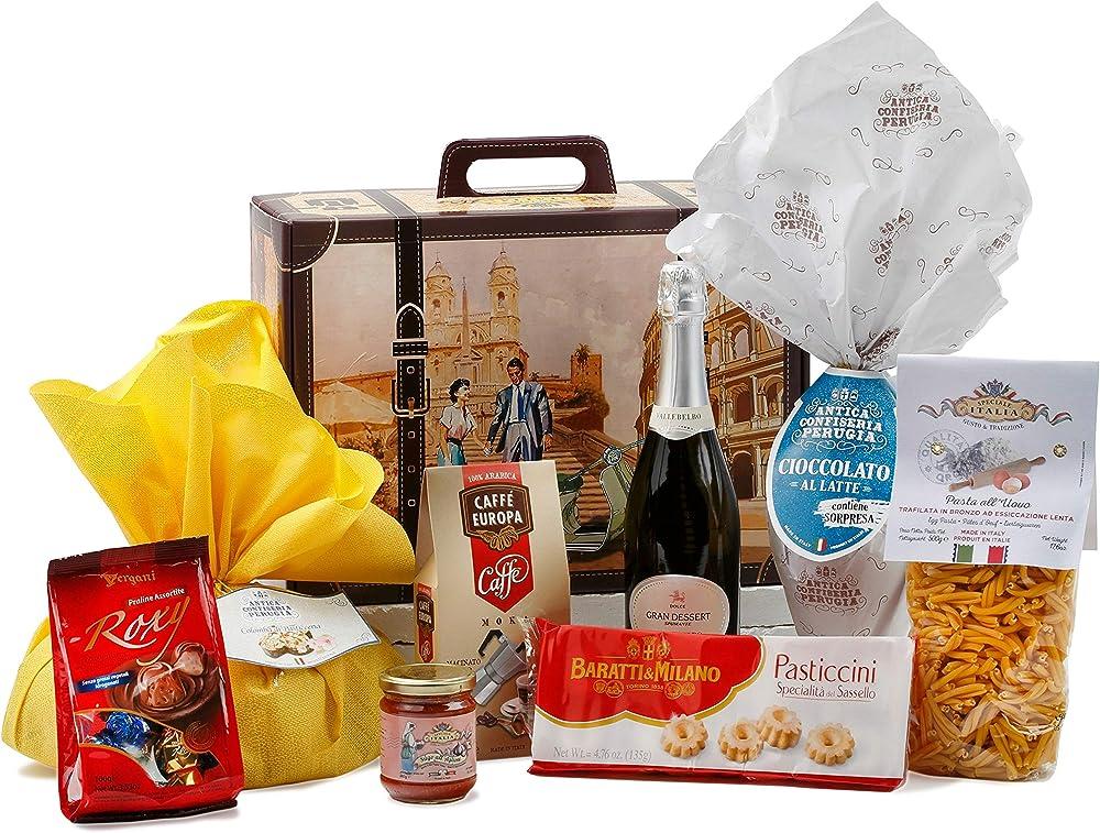 Speciale italia,cesto pasquale alimentare ,con prodotti artigianali italiani, 8 pezzi
