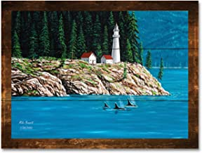 Northwest Passage Lighthouse #1 Rustic Wood Art Print by Mike Bennett (18