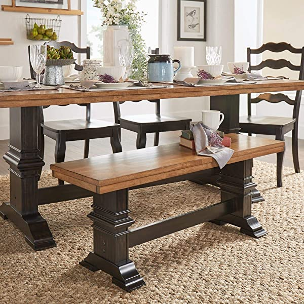 Inspire Q Eleanor Two Tone Trestle Leg Wood Dining Bench By Classic Black Antique Oak Finish Distressed