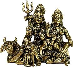 """StonKraft - 6"""" Brass Shiva Parvati - Brass Shiv Parivar Shiva Bholenath Shankar Parvati Ganesh/Ganesha Nandi Family Murti ..."""