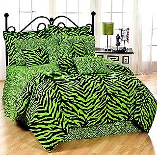 Lime Green Zebra Queen 13 Pc Bedding Set (Comforter, 1 Flat Sheet, 1 Fitted Sheet, 2 Pillow Cases , 2 Shams , 1 Bedskirt, 1 Valance/Drape Set) - SAVE BIG ON BUNDLING!