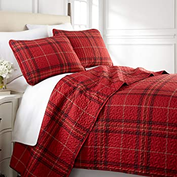 Southshore Fine Living, Inc. Vilano Plaid Collection - Oversized Quilt Set, Full/Queen, Red