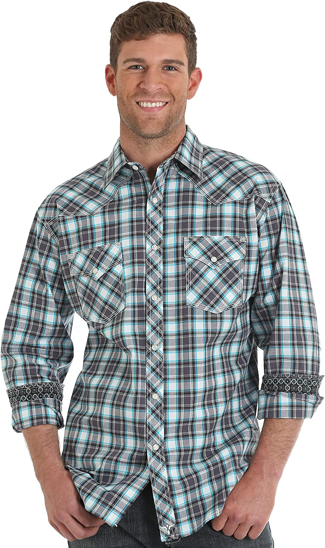 Wrangler Men's 20X Plaid Long Sleeve Western Shirt - Mjc134m