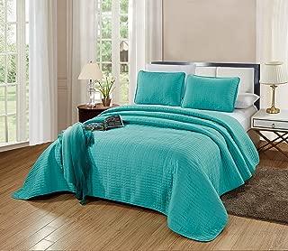 GrandLinen 3-Piece Bedding Catena Quilt Set Solid Turquoise Blue Queen/Full Size 90