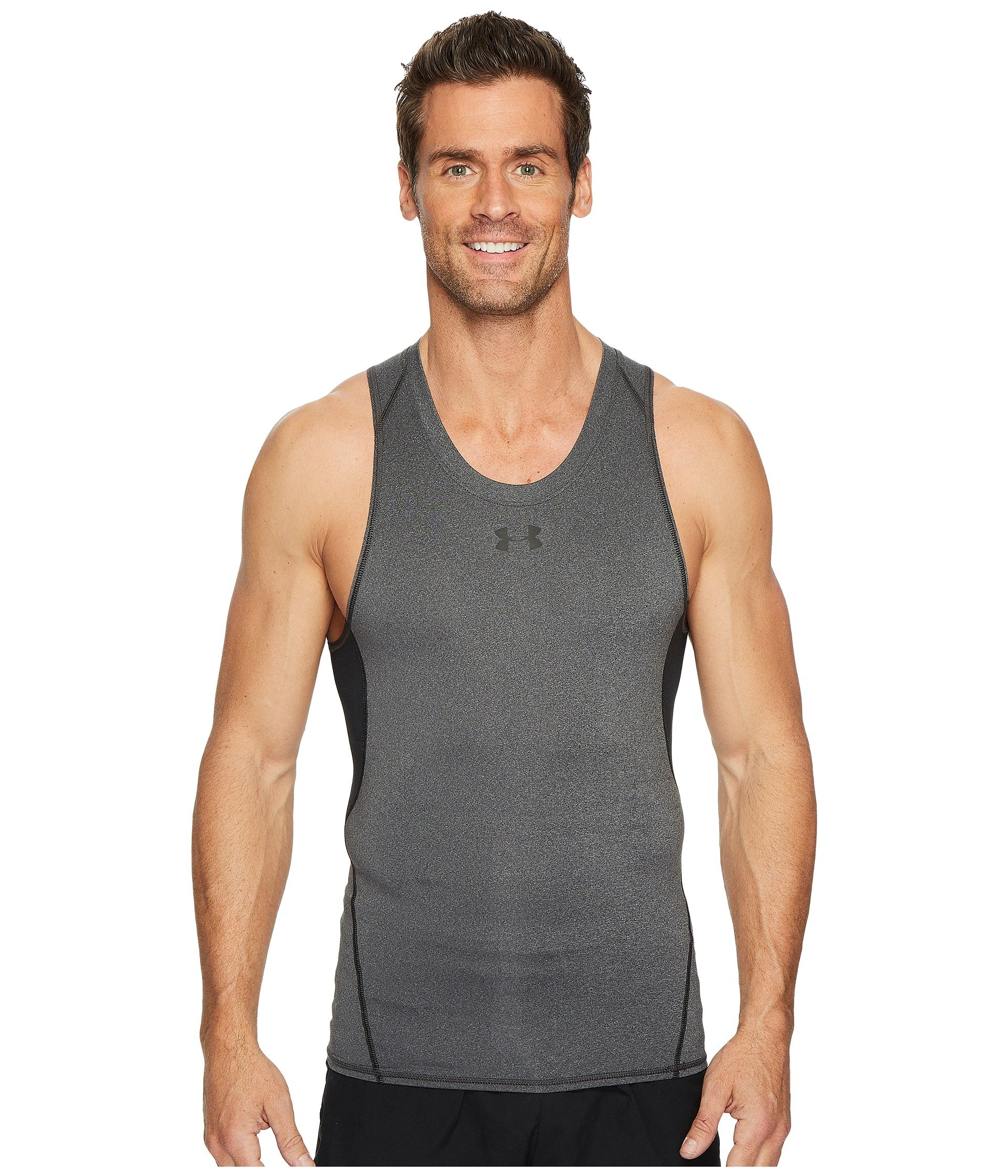 4a9907d795b52c Under Armour Ua Heatgear® Armour Printed Compression Tank Top In Carbon  Heather Black