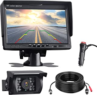 TOGUARD Backup Camera Kit, 7'' LCD Rear View Monitor with IP67 Waterproof Night Vision Back up Rearview Reverse Cam for Trucks, RVs, Trailers, Bus, Harveste, Pickup, Motor Home, Van Large Vehicles