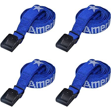 """FASTY Lashing Straps Cam Buckle Tie Down God Bless America (4-Pack 1"""" x 6 ft)"""