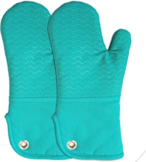 Silicone Groment Oven Mitts with Heat Resistant Non-Slip Set of 2, Cotton Quilting Lining, Oven Gloves and Pot Holders Kitchen Set for BBQ Cooking Baking, Grilling, Barbecue, Machine Washable Blue