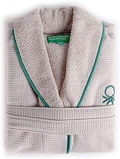 UNITED COLORS OF BENETTON. Albornoz m/l 360gsm Nido Abeja 100% algodón Beige Casa Benetton, Gris