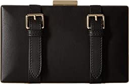 Clutch w/ Thin Chain Strap & Buckle Detailing