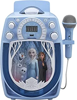 KIDdesigns Kid's Frozen Wireless Rechargeable Portable Bluetooth MP3 Sing Along Karaoke Machine with Mic and LED Light Show