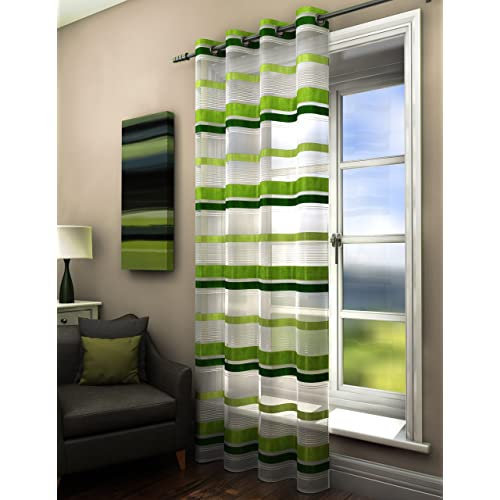 Green Striped Curtains Amazoncouk
