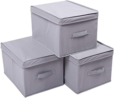 Amelitory Cube Storage Bins with Lid Foldable Fabric Storage Box Organizer Drawer Set of 3 Gray