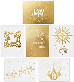 Hallmark Religious Boxed Christmas Cards Assortment, Gold Foil (48 Cards with Envelopes)