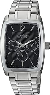 Caravelle New York Men's Analog-Quartz Watch with Stainless-Steel Strap, Silver, 22 (Model: 43C115