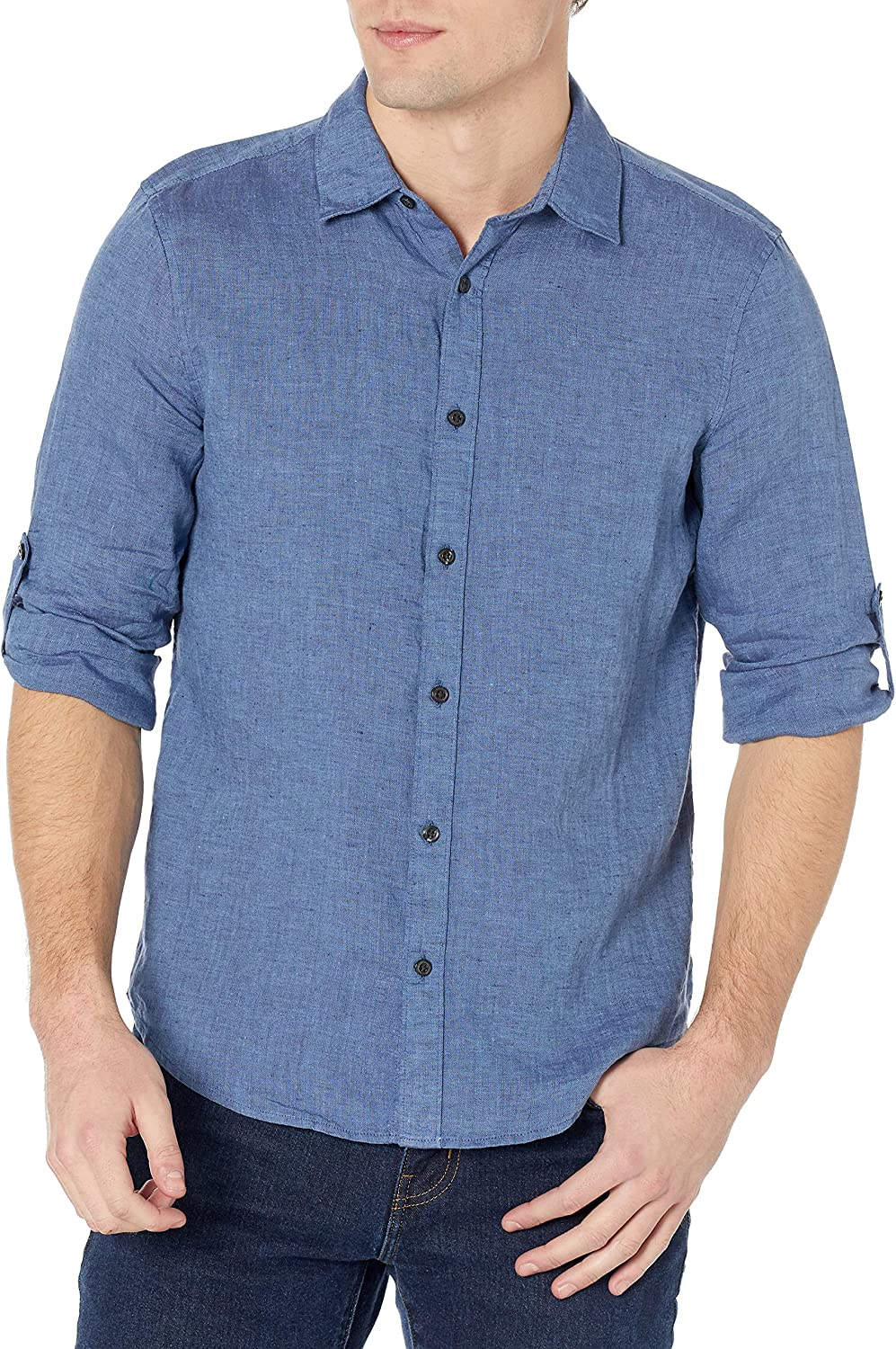 Perry Max 53% OFF Ellis Ranking TOP19 Men's Untucked Roll Long Linen Button-D Sleeve Solid