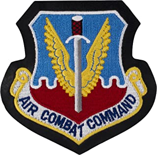 """US Air Force - Air Combat Command Patch - 4"""" x 4"""" HOOK FASTENER Embroidered Patch w/ Leather Border"""