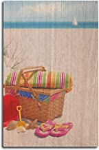 Lantern Press Picnic on The Beach Photography A-90919 (10x15 Wood Wall Sign, Wall Decor Ready to Hang)