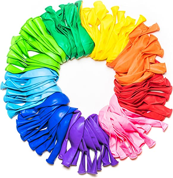 Dusico Party Balloons 12 Inches Rainbow Set 100 Pack Assorted Colored Party Balloons Bulk Made With Strong Latex For Helium Or Air Use Birthday Balloon Arch Supplies Decoration Accessory