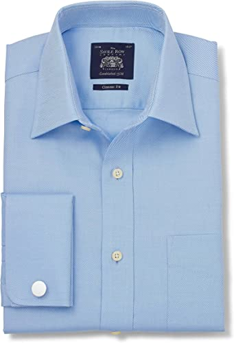 Savile Row Company Hommes's bleu Fine Twill Classic Fit Shirt - Double Cuff