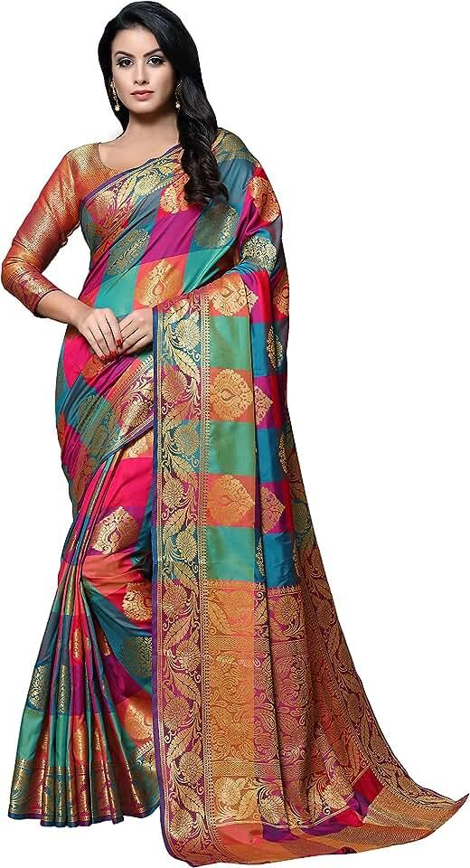 Indian SORU FASHION Women's Kanchipuram Art Silk Saree with Un-Stitched Blouse (Cott-814_Multicolored) Saree